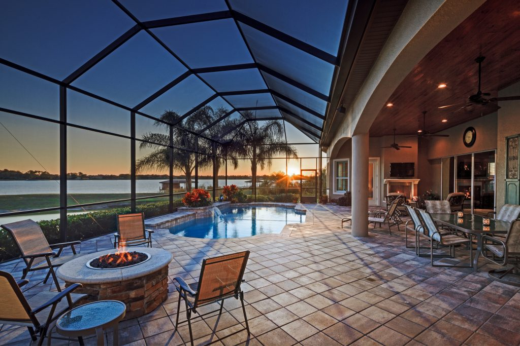 custom pool at luxury home built by Ayers, an Orlando home builder