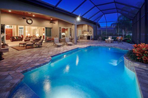 luxury pool design at new custom home in Orlando area