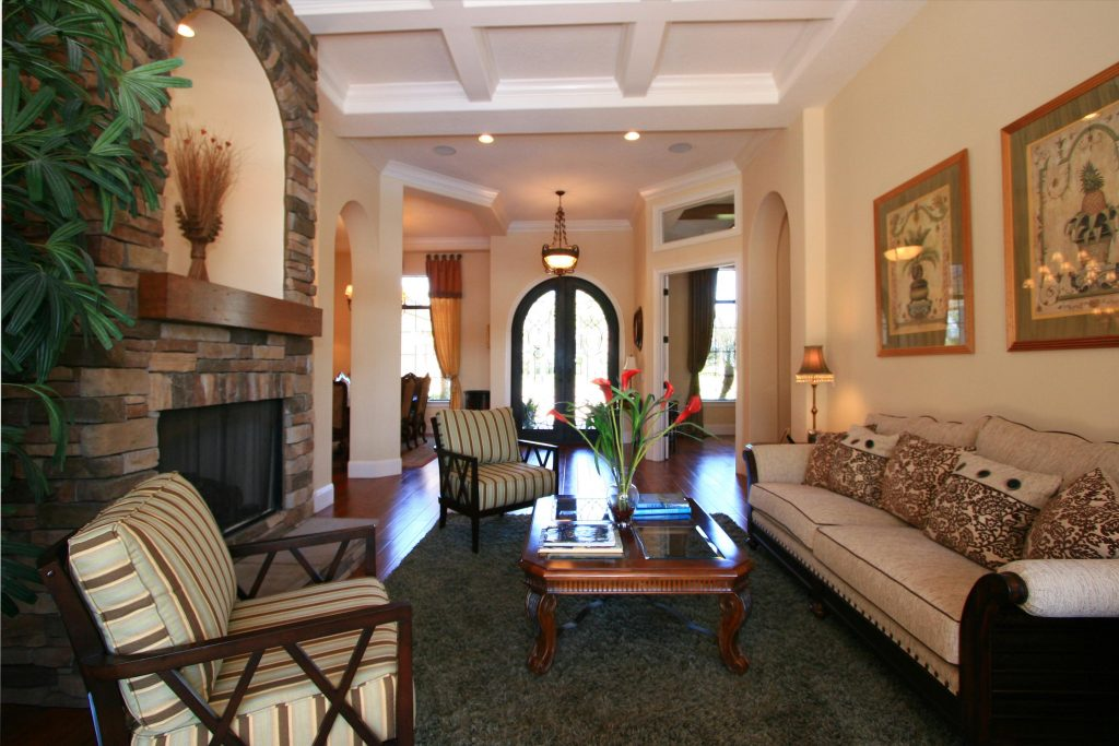 elegant living room at brand new custom home in the Orlando area