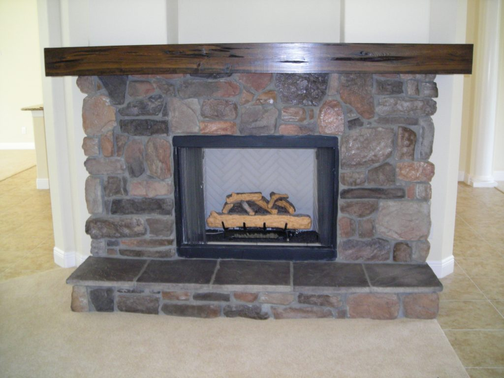 custom fireplace at new residential home designed and built by Ayers Custom Homes