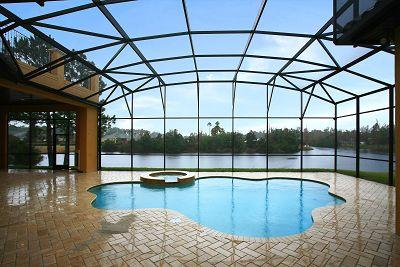 custom built patio with pool by Ayers Custom Homes