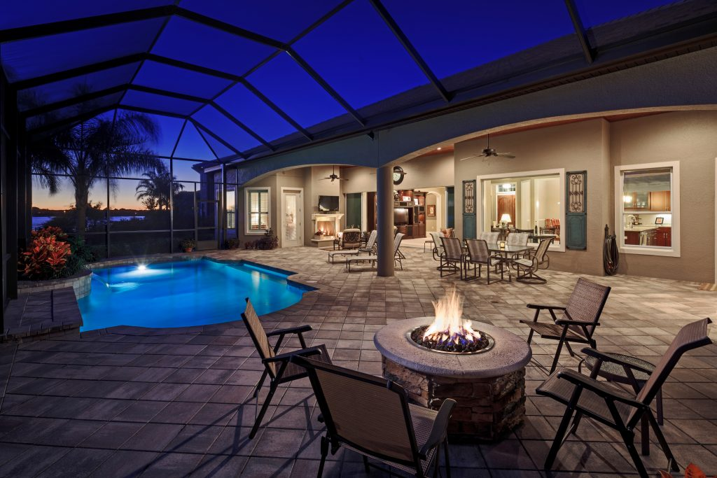 screened pool area designed custom for residential home by Ayers Homes