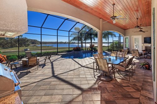 screened-in patio at lakeside custom home by Ayers, an Orlando builder