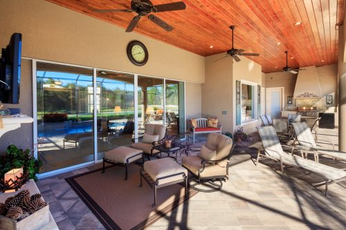 outdoor patio social space at luxury home by custom home builder Ayers Homes