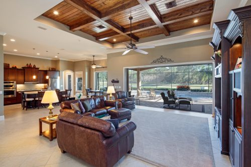 custom spacious living room at new custom home in Orlando area by Ayers Homes
