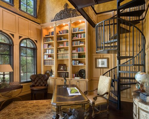 elegant custom study at new luxury home designed by Ayers Homes